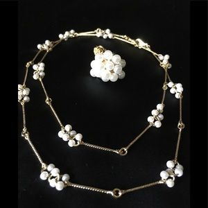 Genuine pearl necklace and ring
